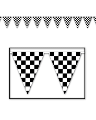 Flag Bunting - Checkered (Black & White) (50532)