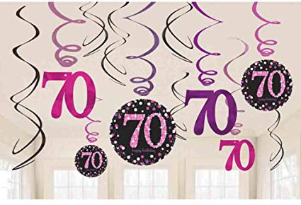 Hanging Swirl Decorations - 70th (Pink) (9901747)