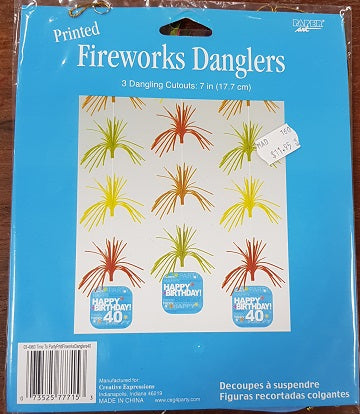 Firework Danglers - 40th (03-4960)