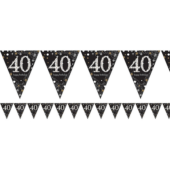 Flag Bunting - 40th (Black & Gold) (9900568)