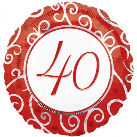 "Foil - 18"" - 40th (Red & White) (11057)"