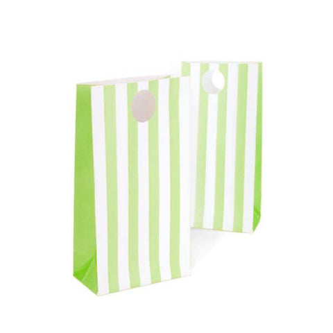 Paper Treat bag - Pkt 12 - Green Stripe (E2392)