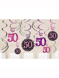 Hanging Swirl Decorations - 50th (Pink) (9900613)