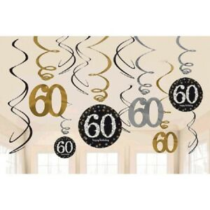 Hanging Swirl Decorations - 60th (Black & Gold) (670480)