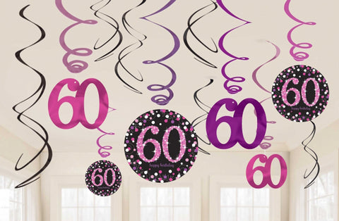 Hanging Swirl Decorations - 60th (Pink) (9900621)