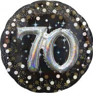 Holographic Foil Balloon - 81cm - 70th (Black, Gold & Silver) (37402)