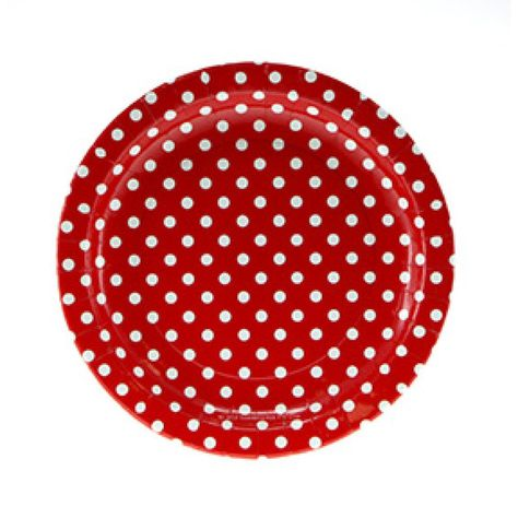 Plates - Lunch - Paper - Red & White (A142462)