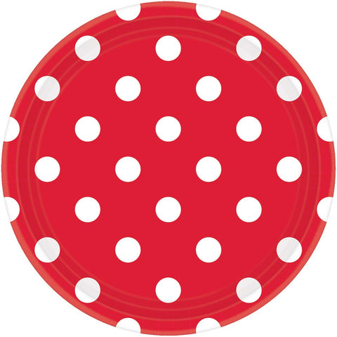 Plates - Lunch - Paper - Red & White (37494)