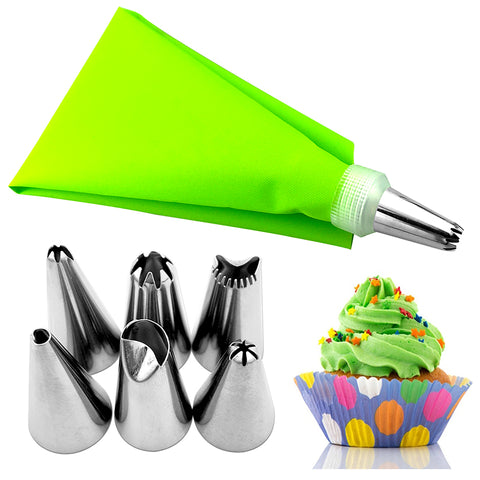 Cake Decorating Piping Bag & 6 Nozzles