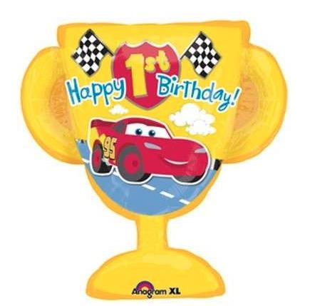 Supershape - 26 inch (66cm) x 27 inch (69cm) - Happy 1st Birthday (Cars) (25327)