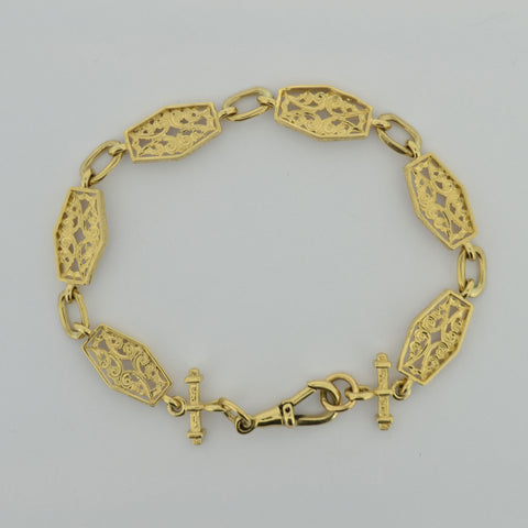 9ct Fancy Hexogan Bracelet