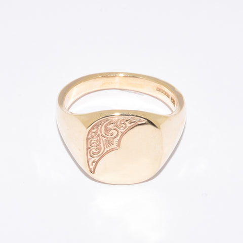 9ct Large Cushion Shape Signet Ring
