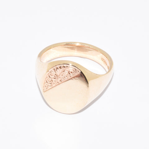 9ct Large Oval Shape Signet Ring