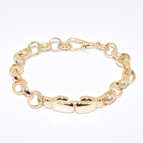 9ct Engraved & Plain Boxing glove bracelet