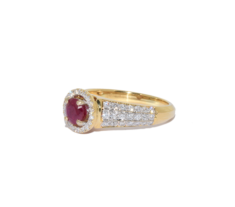 18ct Ruby Diamond Halo Ring