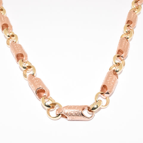 Handmade Rose & Yellow Gold Tube Chain