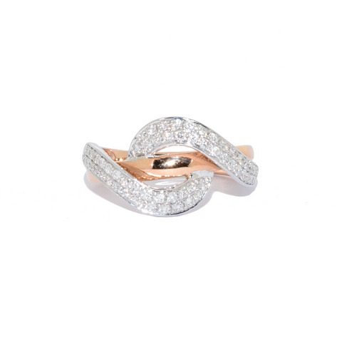 18ct Rose Gold Diamond Wave