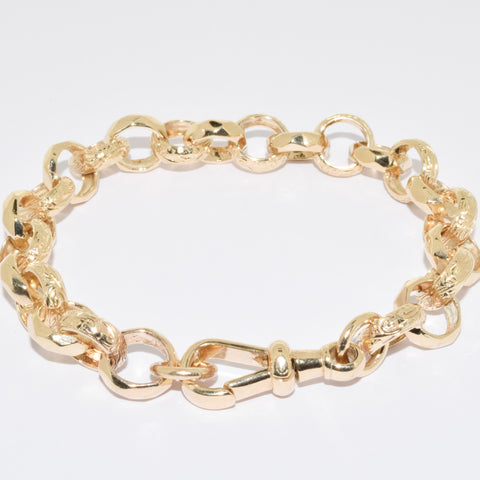 9ct Gold Faceted & Engraved Belcher Bracelet