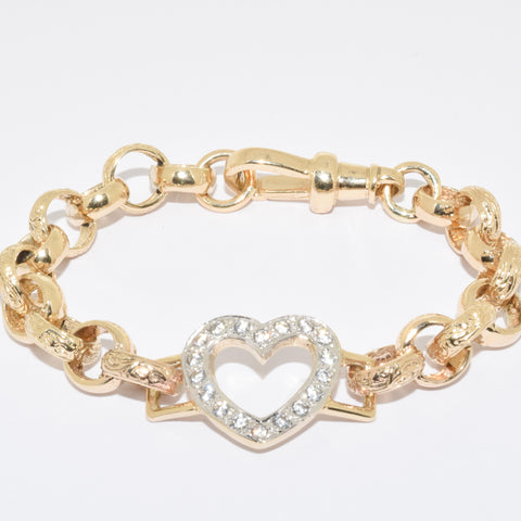 Children's 9ct Gold Love Heart Bracelet