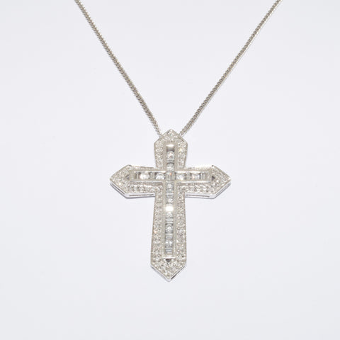 9ct White Gold Diamond Cross Pendant