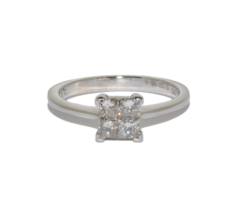 18ct 4 Stone Princess Cut Solitaire Style