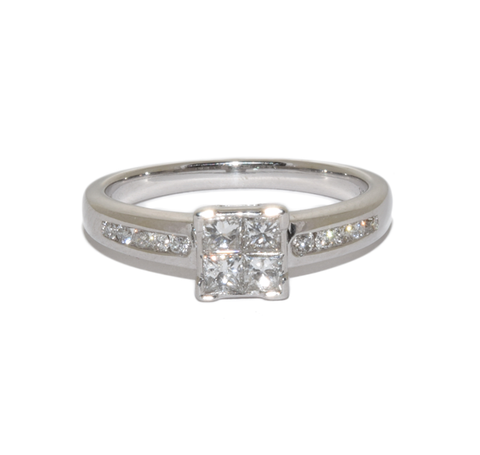 18ct white gold 4 princess cut solitaire
