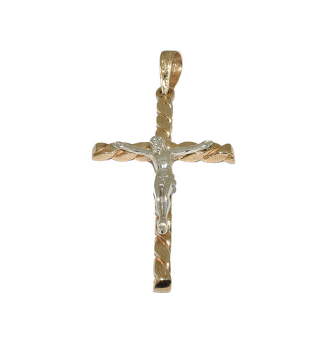 Large 9ct Handmade Twisted Cross Pendant