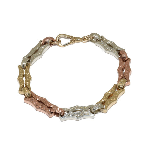 Three Colour Gold Antique Style Bracelet