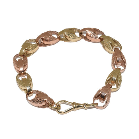 9ct Two Colour Gold Large Tulip Bracelet