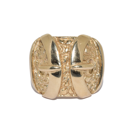 9ct Extra Large Double Buckle Ring