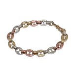 9ct 3 Colour Gold Antique Style Bracelet