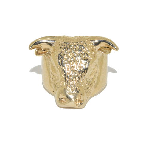 9ct Handmade Bull's Head Ring