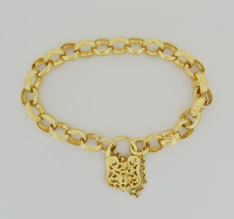 9ct Belcher Bracelet With Love Heart Padlock Fastener