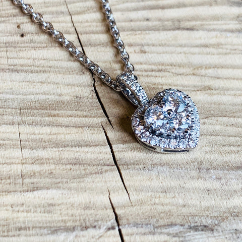 Ladies White Gold Diamond Set Love Heart pendant