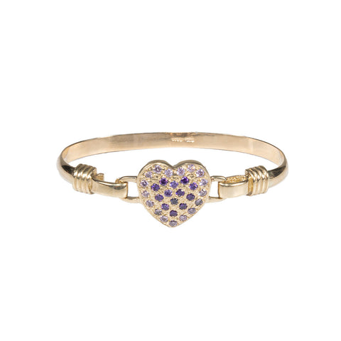 Girls 9ct Gold Love Heart Torque Bangle