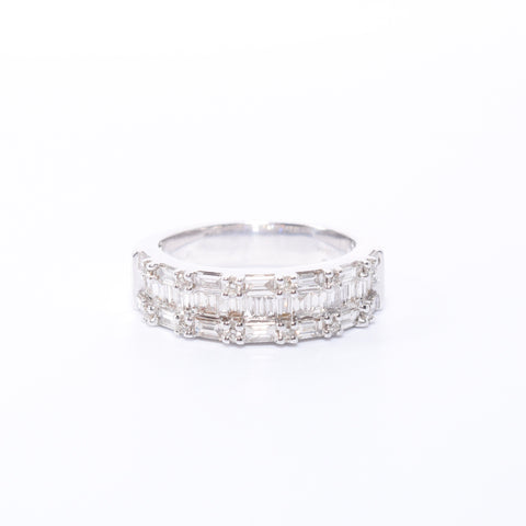 Ladies White Gold Multi Baguette Diamond Band