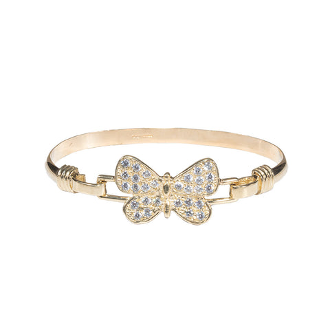 Girls 9ct Gold Butterfly Torque Bangle