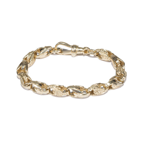 Children's 9ct Gold Plain & Engraved Small Tulip Bracelet