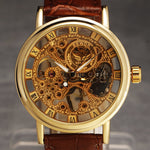 Ultra Thin Dial Leather Band Mechanical Watch