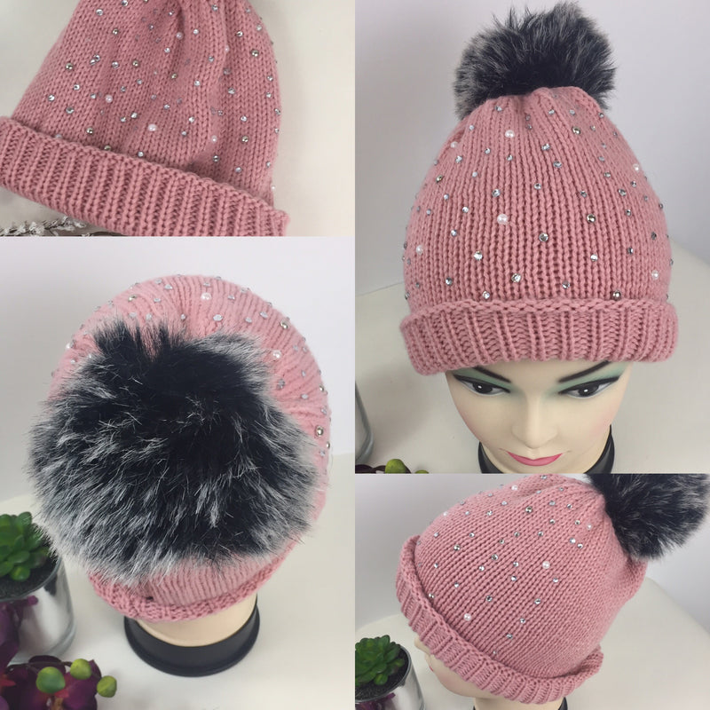 82e76ce4666 Pink Ribbed Studded Diamonte Knitted Beanie pom pom Hat Large Fur Bobble  Hats