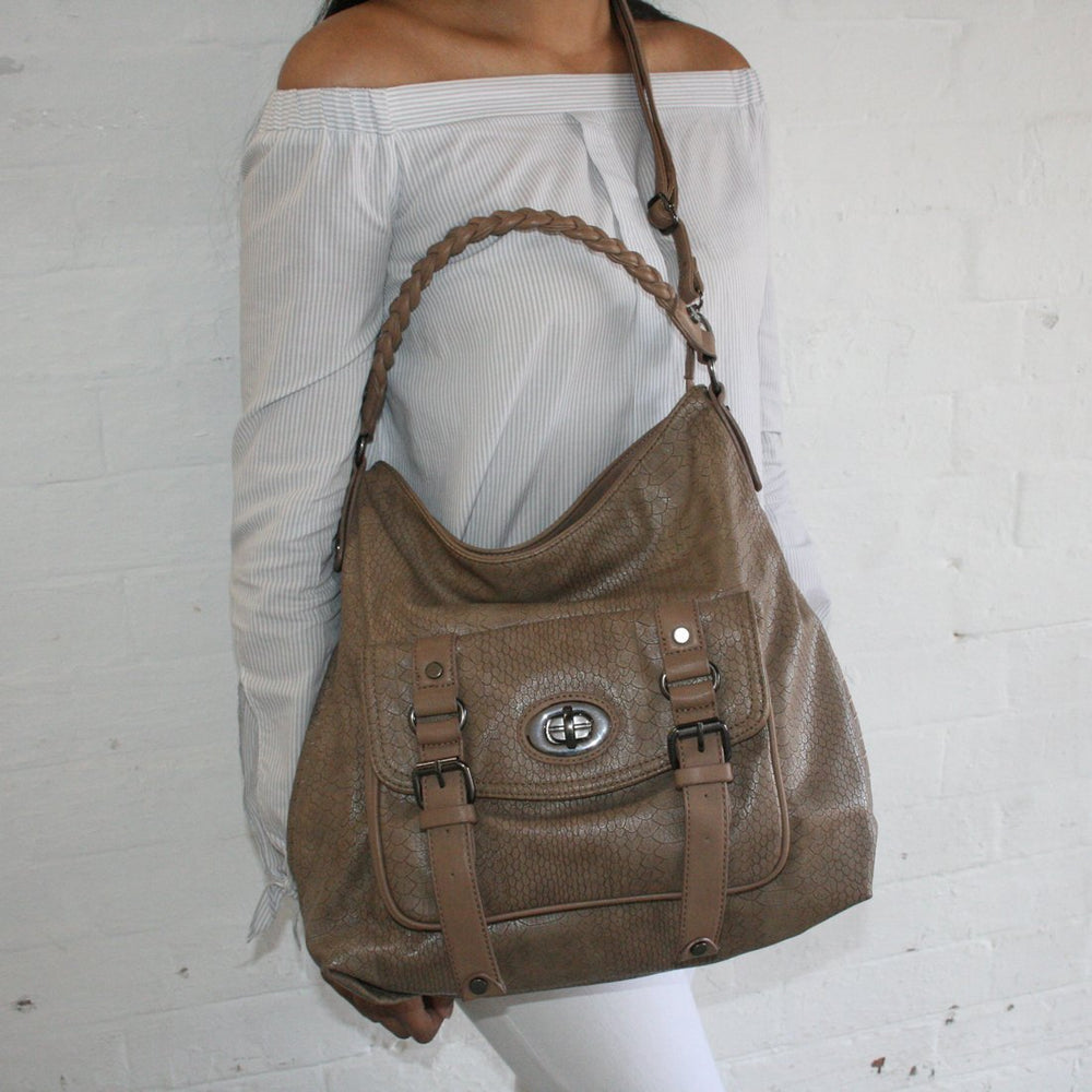 e59fb129be Fashion Handbag in Taupe with all over Reptile Print and outside pocket