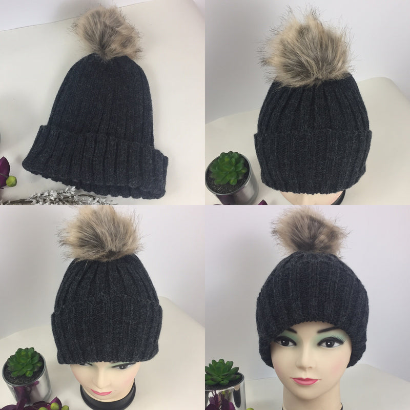 aeff3dbcfc5 Black Charcoal Ribbed Knitted Beanie pom pom Hat Large Fur Bobble Hats