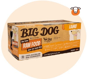 Big Dog BARF Raw Food Lamb 3kg (12x250g)