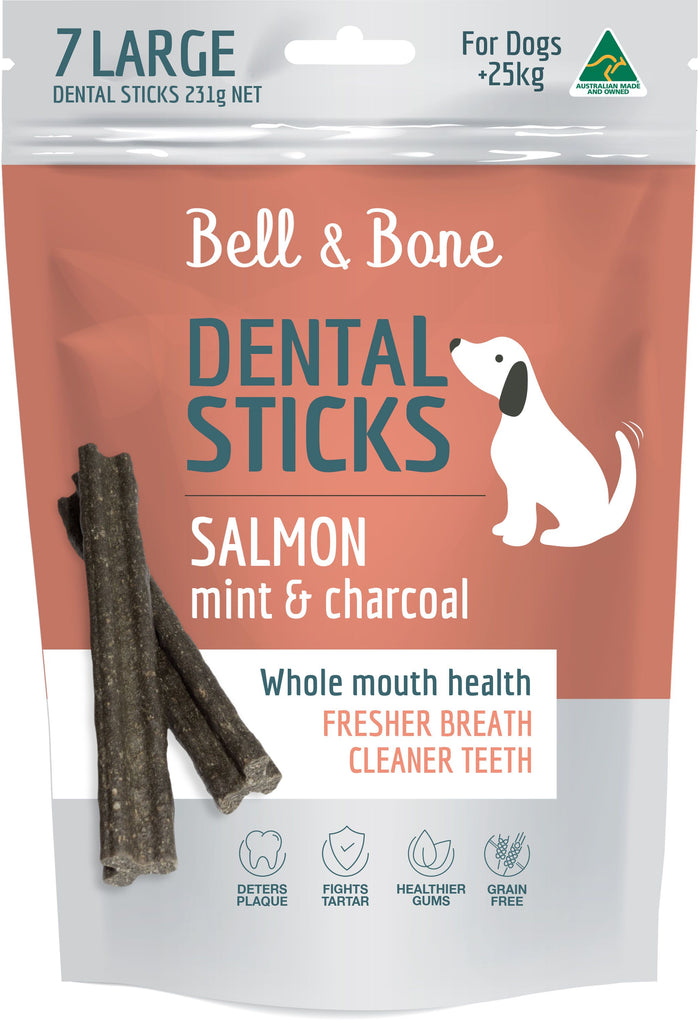Bell & Bone Salmon, Mint & Charcoal Dental Sticks - Large