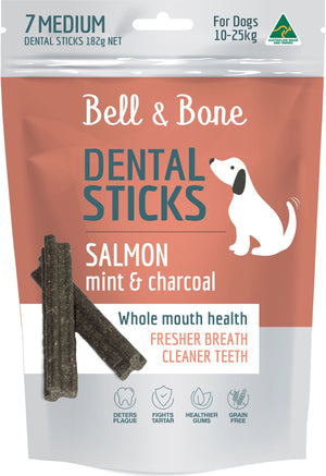 Bell & Bone Salmon, Mint & Charcoal Dental Sticks - Medium