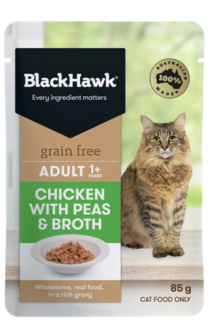 Black Hawk Adult Cat Grain Free Chicken with Peas & Broth Pouch - 85g