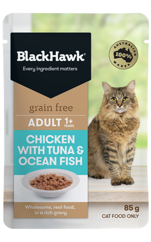 Black Hawk Adult Cat Grain Free Chicken with Tuna & Ocean Fish Pouch - 85g