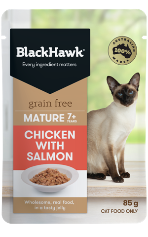 Black Hawk Mature Cat Grain Free Chicken with Salmon Pouch - 85g