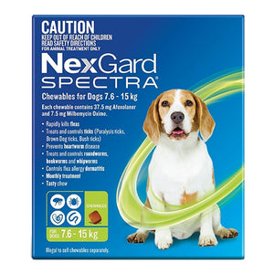 NexGard Spectra Chewables for Dogs (7.6 - 15kg) Green 6Pk
