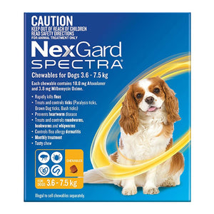 NexGard Spectra Chewables for Dogs (3.6 - 7.5kg) Yellow 6Pk